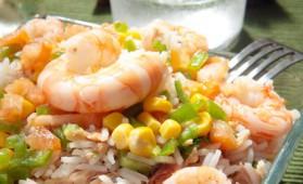 Salade de riz et crevettes pour 4 personnes