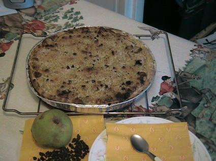 Recette de tarte aux poires pépites de chocolat et crumble