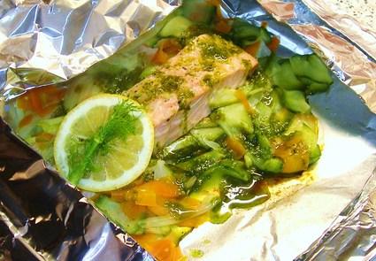 Recette de papillote de saumon aux légumes