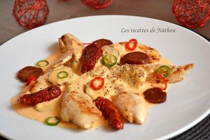 Recette aiguillettes de poulet, sauce crémeuse au chorizo