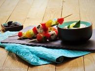 Recette de brochettes de tomates cerise, poivrons, concombe et feta ...
