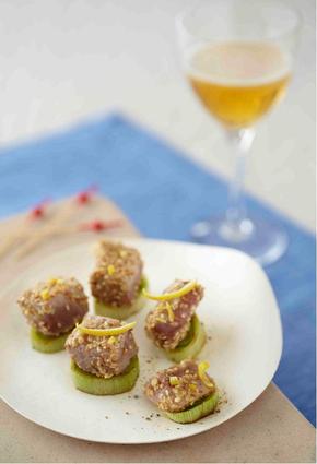 Recette de bouchées de thon mi-cuit en marinade de cidre et sésame