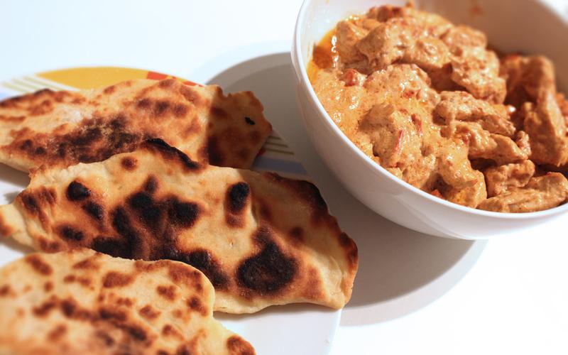 Recette poulet au poivron rouge et cheese naans économique ...