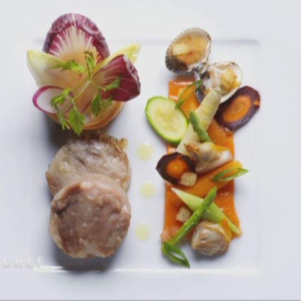 Recette tête de veau, petits légumes, sauce gribiche au jus de coques