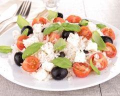 Recette salade de riz, féta, tomates et olives