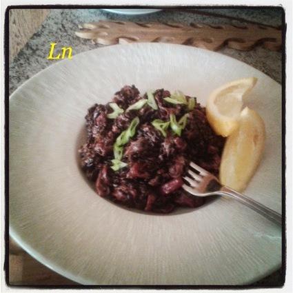 Recette de riz noir aux fruits de mer sauce mascarpone et citron
