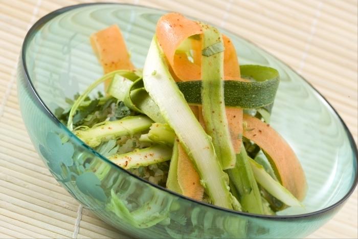 Recette de salade de boulgour et tagliatelle de légumes croquants ...