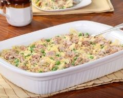 Recette gratin de pâtes au thon et petits pois
