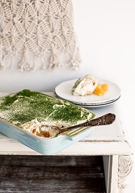 Tiramisu au thé vert, au chocolat blanc & aux clémentines