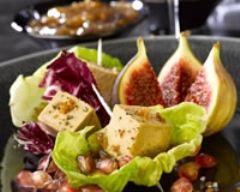 Recette petites bouchées de foie gras en coeur de salade
