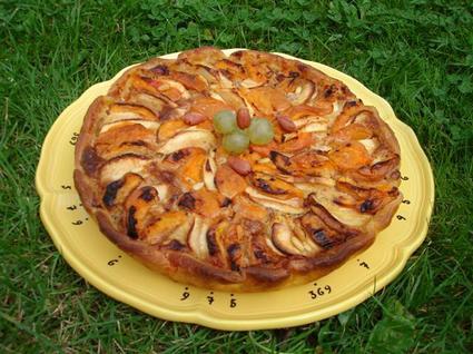 Recette de tarte aux pommes et abricots à la crème de noisette