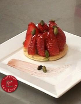 Tarte fine aux fraises et pistaches pour 6 personnes