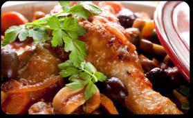 Poulet aux olives et au thym pour 6 personnes