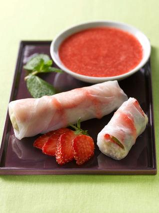 Recette de rouleaux de printemps aux fraises