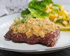 Recette bifteck en croûte d'herbes et moutarde