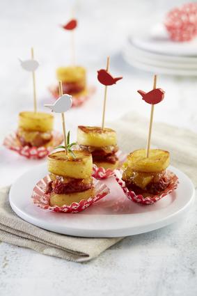 Recette macaron de ratte du touquet au confit d'oignons et chorizo