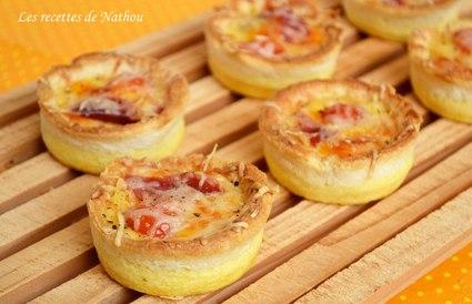 Recette de mini quiches en coquilles de pain, au jambon et cheddar ...