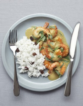 Gambas curry et riz coco pour 4 personnes