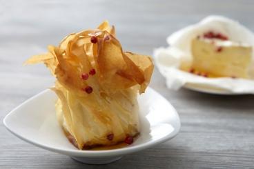 Recette de aumônière de camembert au miel de baies roses facile ...