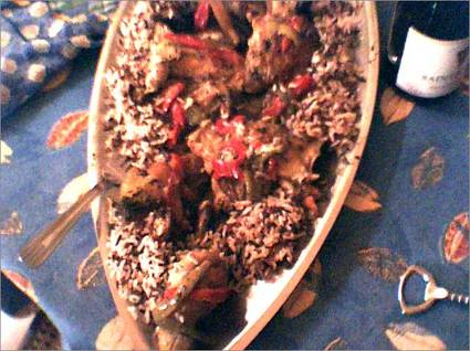Recette de sauté de poulet au basilic, lait de coco et poivrons