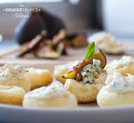 Recette de feuilletés de figues rôties, roquefort et basilic