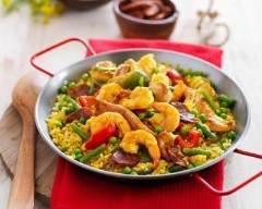 Recette poêlée de crevettes et poulet aux petits légumes façon paëlla