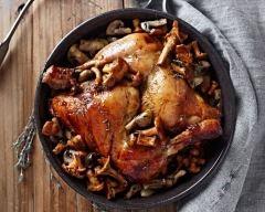 Recette cuisses de poulet flambées aux champignons et lardons