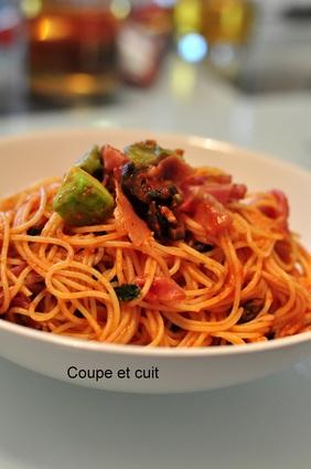 Recette de capellini à la sauce tomate, avocat et jambon cru