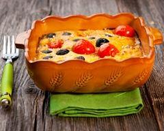 Recette clafoutis de tomates cerise, olives et chèvre