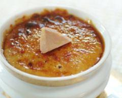 Recette crème brûlée au foie gras et fruits secs concassés