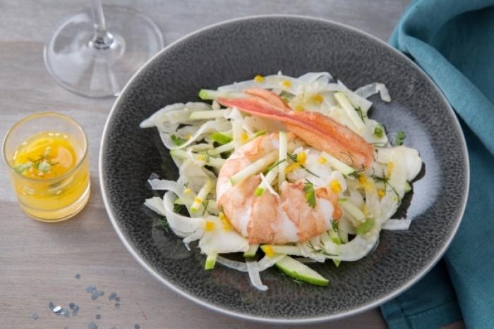Recette de fraîcheur de homard en vinaigrette aux agrumes, salade ...