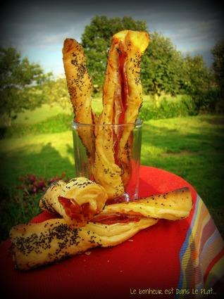 Recette de torsades feuilletées jambon fumé-graines de pavot