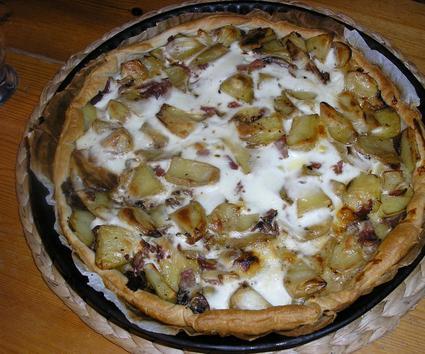 Recette de tarte aux pommes de terre, jambon et champignons