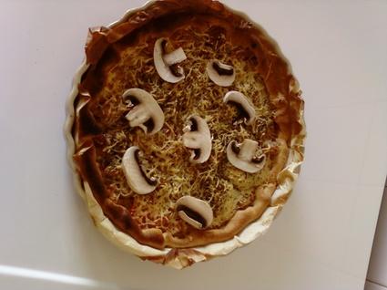 Recette de pizza au thon, champignons et gruyère