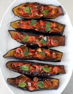 Petits bateaux d'aubergines pour 4 personnes