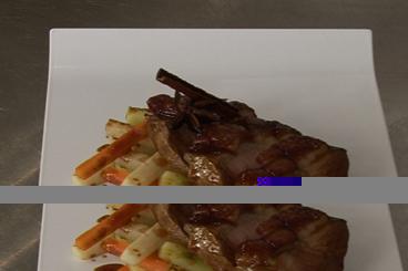Recette de magret de canard laqué, mikado de légumes facile et ...