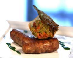 Recette saucisses confites et chou braisé au jambon de bayonne