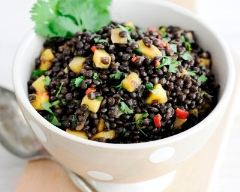 Recette salade tiède de lentilles et de mangues