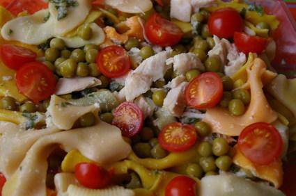 Recette de salade de pâtes au poulet, petits pois et tomates