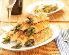 Recette roulés feuilletés aux asperges vertes et crème mousseline