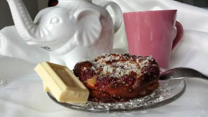 Recette de clafoutis framboises et chocolat blanc