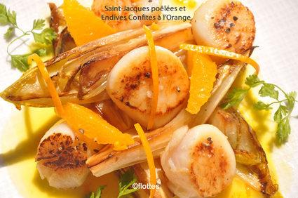 Recette de saint-jacques poêlées et endives confites à l'orange