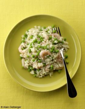 Risotto crevettes-petits pois pour 4 personnes