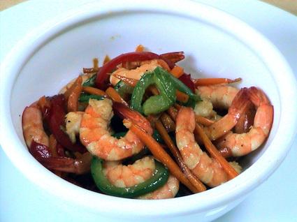 Recette de crevettes sautées aux petits légumes