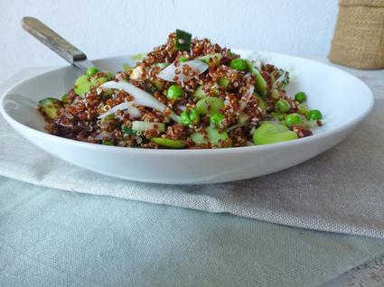 Recette de salade de quinoa rouge aux fèves et petits pois frais ...