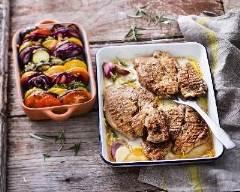 Recette grillade de veau marinée à l'ail rose, romarin et citron