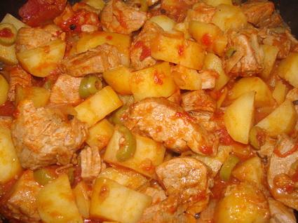 Recette de sauté de porc aux tomates et olives