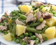 Recette salade de pommes de terre au thon, haricots et petits pois