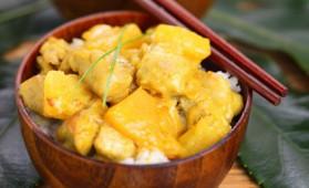 Poulet curry jaune et ananas pour 4 personnes