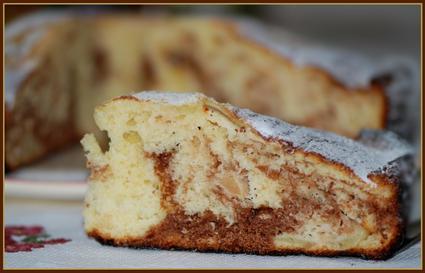 Recette de gâteau au yaourt marbré pommes-chocolat